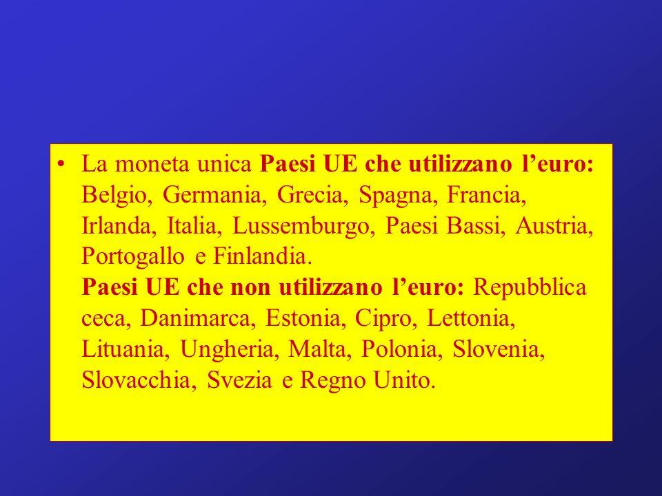 La moneta unica Paesi UE che utilizzano leuro: Belgio, Germania, Grecia, Spagna, Francia, Irlanda, Italia, Lussemburgo, Paesi Bassi, Austria, Portogallo e Finlandia.