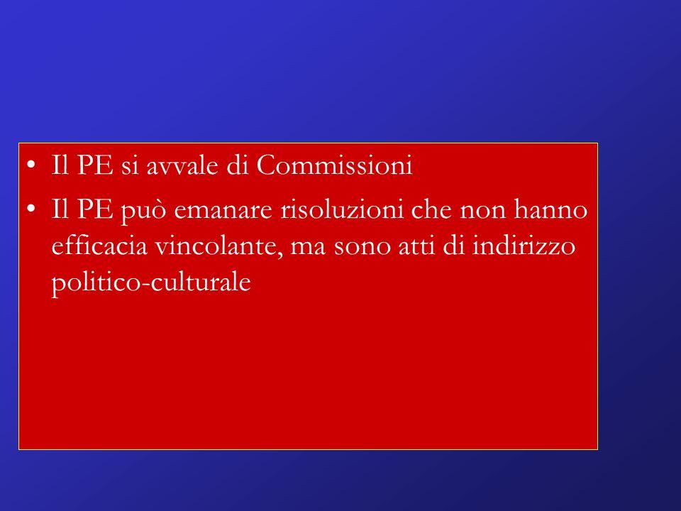 Il PE si avvale di Commissioni Il PE può emanare risoluzioni che non hanno efficacia vincolante, ma sono atti di indirizzo politico-culturale