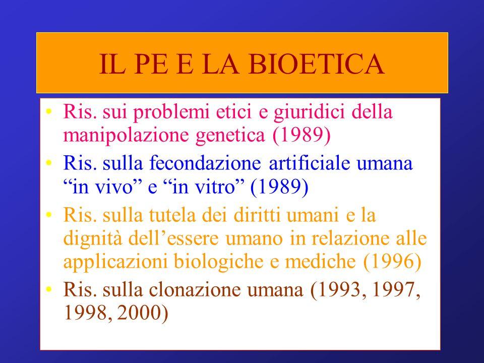 IL PE E LA BIOETICA Ris. sui problemi etici e giuridici della manipolazione genetica (1989) Ris.