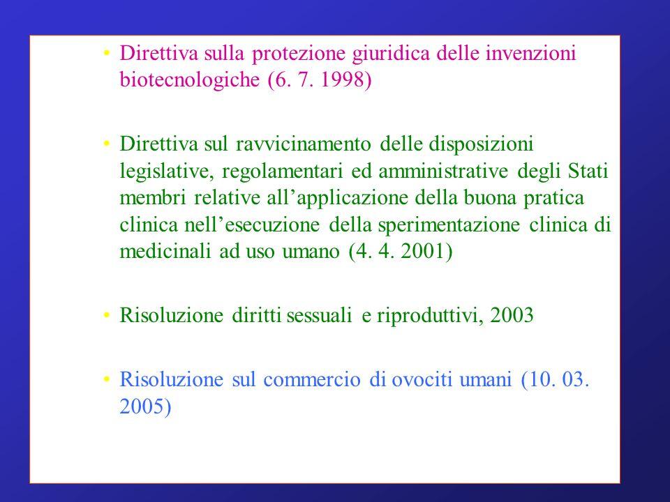 Direttiva sulla protezione giuridica delle invenzioni biotecnologiche (6.