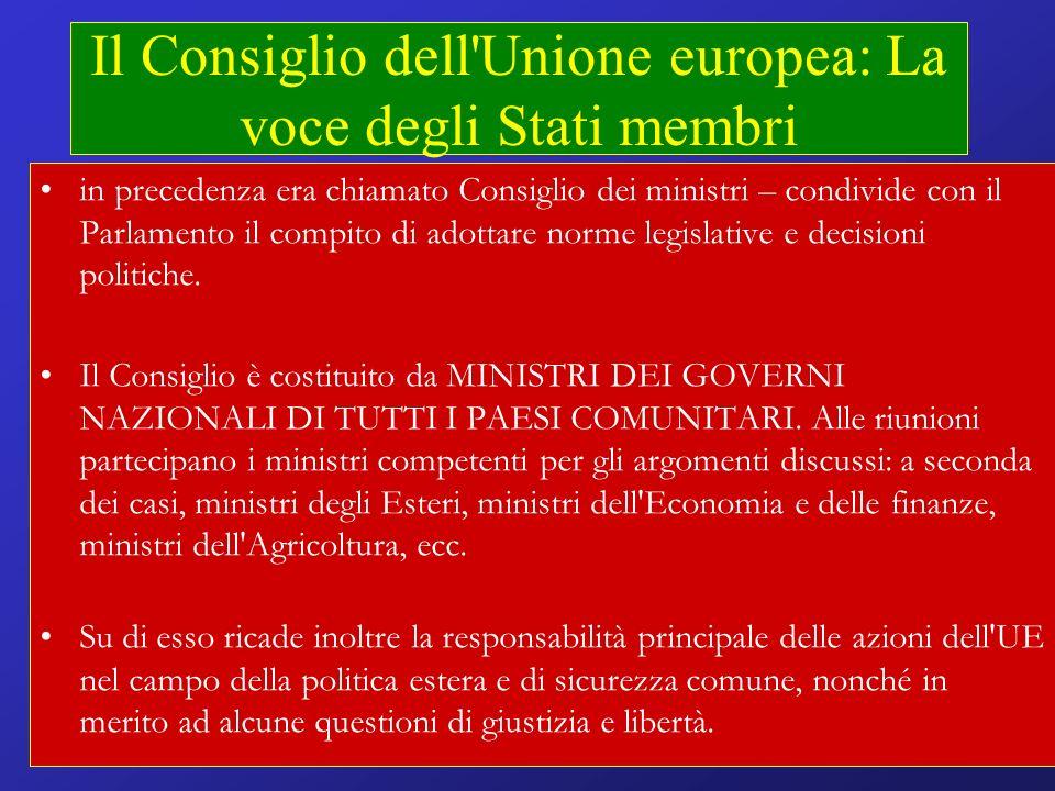 Il Consiglio dell Unione europea: La voce degli Stati membri in precedenza era chiamato Consiglio dei ministri – condivide con il Parlamento il compito di adottare norme legislative e decisioni politiche.