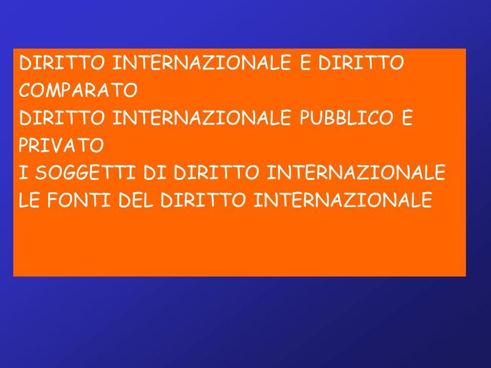 DIRITTO INTERNAZIONALE E DIRITTO COMPARATO DIRITTO INTERNAZIONALE PUBBLICO E PRIVATO I SOGGETTI DI DIRITTO INTERNAZIONALE LE FONTI DEL DIRITTO INTERNAZIONALE