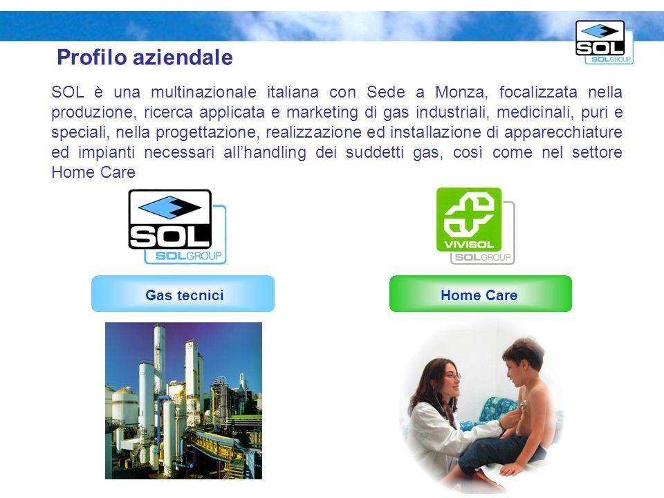 Profilo aziendale Home Care SOL è una multinazionale italiana con Sede a Monza, focalizzata nella produzione, ricerca applicata e marketing di gas ind