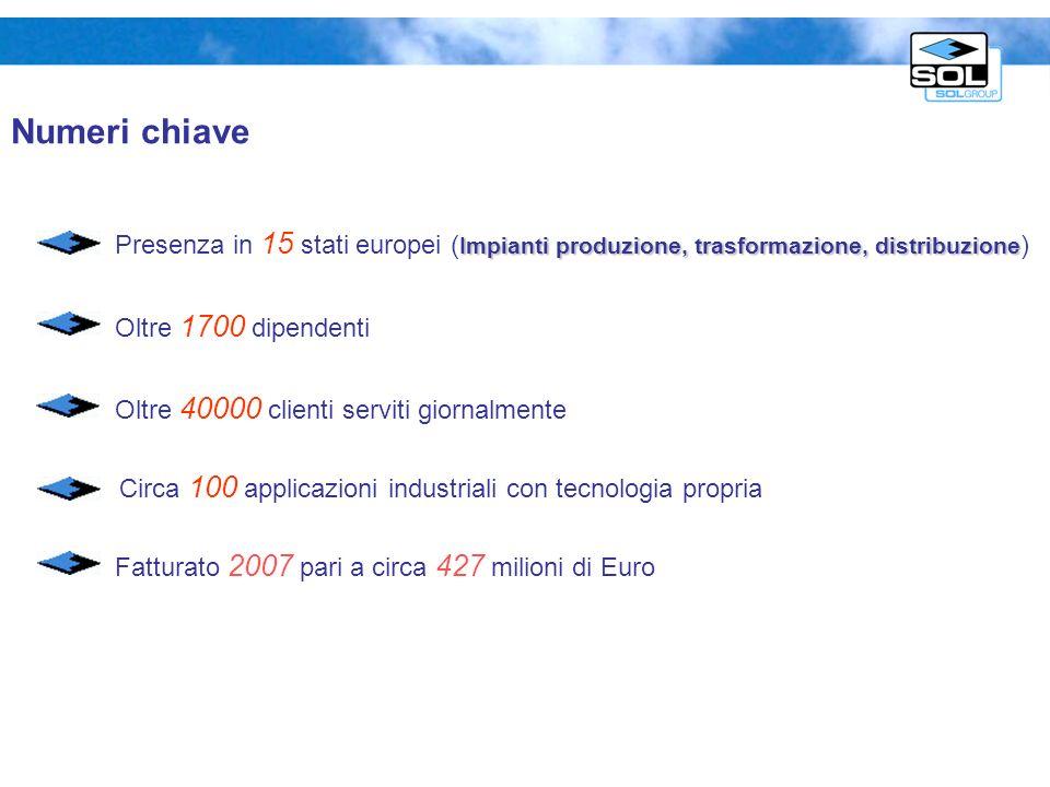 Numeri chiave Impianti produzione, trasformazione, distribuzione Presenza in 15 stati europei ( Impianti produzione, trasformazione, distribuzione ) O