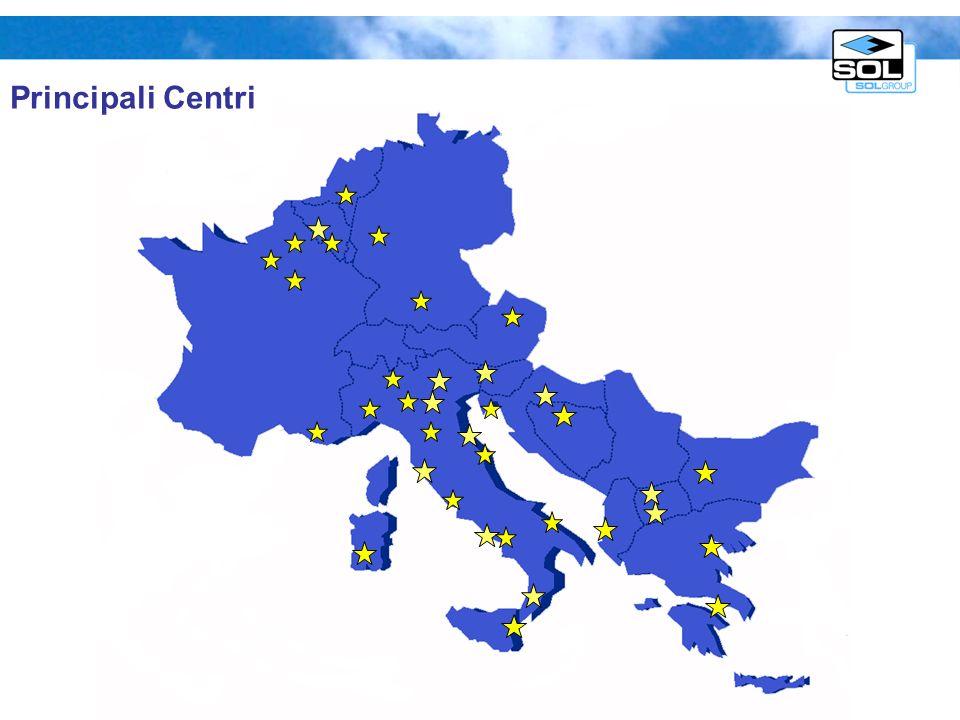 Unità produzione H 2 On-site presso utilizzatore finale in Italia & Europa Facilities di produzione H 2 in Italia & Europa Infrastruttura distribuzione H 2 : carri bomb./ bombole-pacchi/ pipelines Tecnologie: steam reforming, ossidazione parziale, elettrolisi Produzione e distribuzione Idrogeno SOL: gas industriale Capacità produttiva annua dellordine di decine di milioni di metri cubi