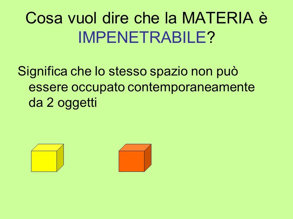 Cosa vuol dire che la MATERIA è IMPENETRABILE? Significa che lo stesso spazio non può essere occupato contemporaneamente da 2 oggetti
