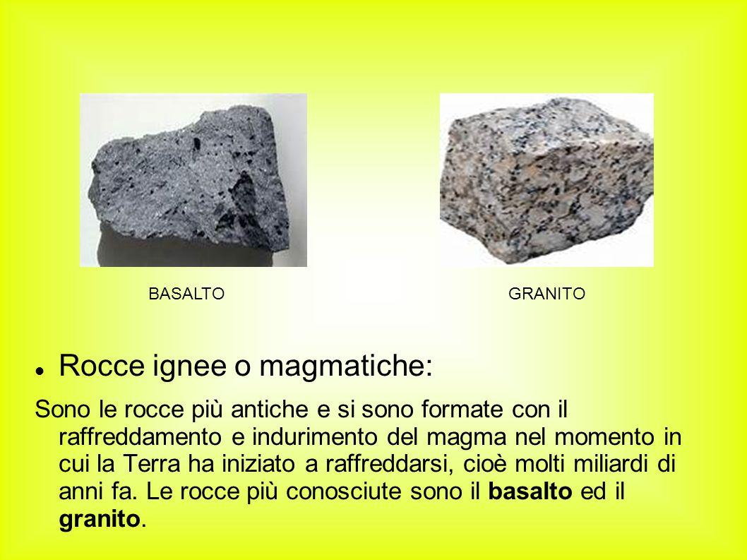 Rocce ignee o magmatiche: Sono le rocce più antiche e si sono formate con il raffreddamento e indurimento del magma nel momento in cui la Terra ha ini