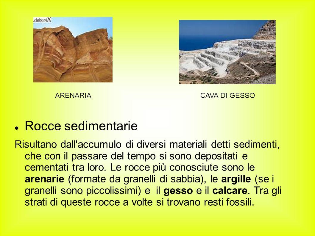 Rocce sedimentarie Risultano dall'accumulo di diversi materiali detti sedimenti, che con il passare del tempo si sono depositati e cementati tra loro.