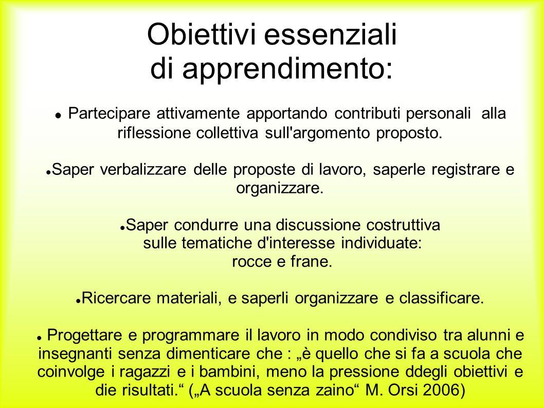 Obiettivi essenziali di apprendimento: Partecipare attivamente apportando contributi personali alla riflessione collettiva sull'argomento proposto. Sa