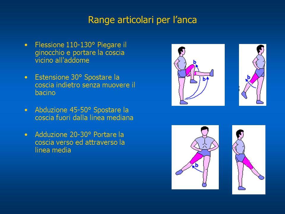 Range articolari per lanca Rotazione interna 40° Flettere il ginocchio e spostare la parte inferiore della gamba fuori della linea mediana Rotazione esterna 45° Flettere il ginocchio e spostare la parte inferiore della gamba verso la linea mediana