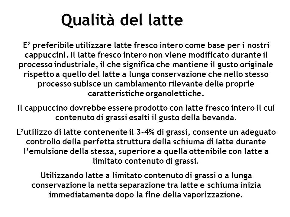 Qualità del latte E preferibile utilizzare latte fresco intero come base per i nostri cappuccini. Il latte fresco intero non viene modificato durante