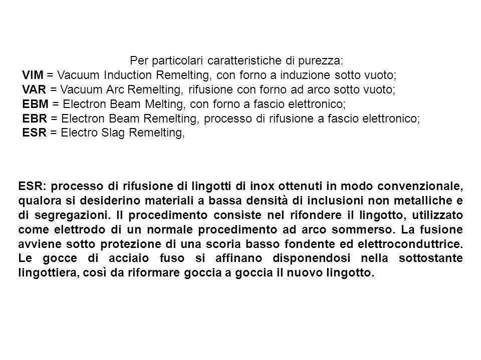 Per particolari caratteristiche di purezza: VIM = Vacuum Induction Remelting, con forno a induzione sotto vuoto; VAR = Vacuum Arc Remelting, rifusione
