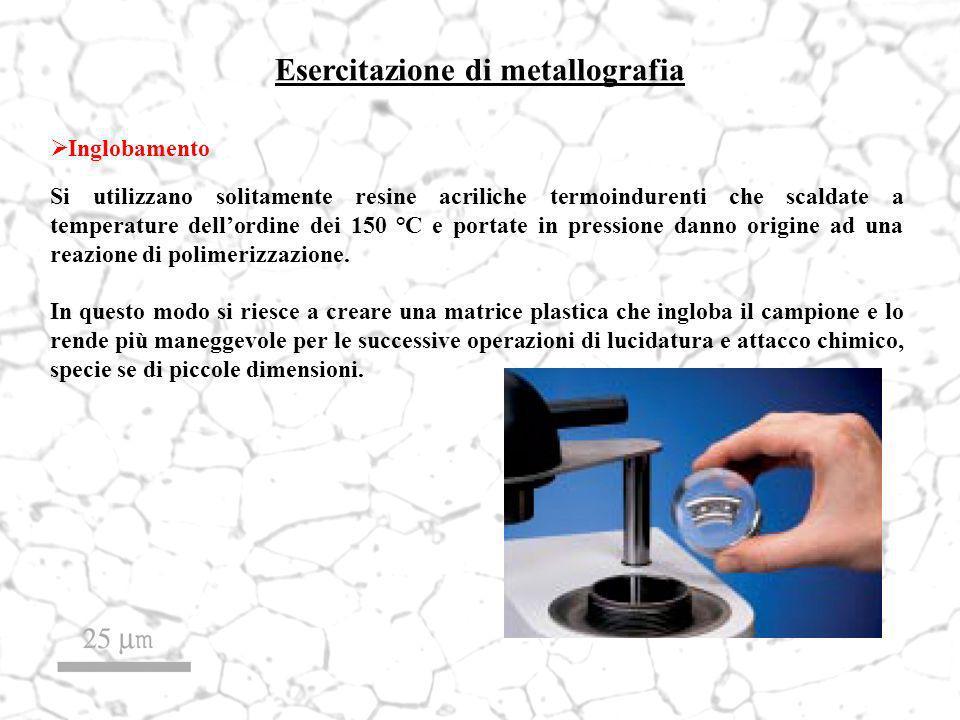 Esercitazione di metallografia Inglobamento Si utilizzano solitamente resine acriliche termoindurenti che scaldate a temperature dellordine dei 150 °C