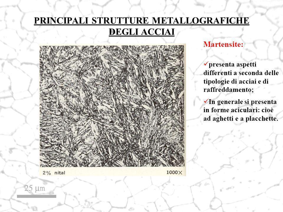 PRINCIPALI STRUTTURE METALLOGRAFICHE DEGLI ACCIAI Martensite: presenta aspetti differenti a seconda delle tipologie di acciai e di raffreddamento; In