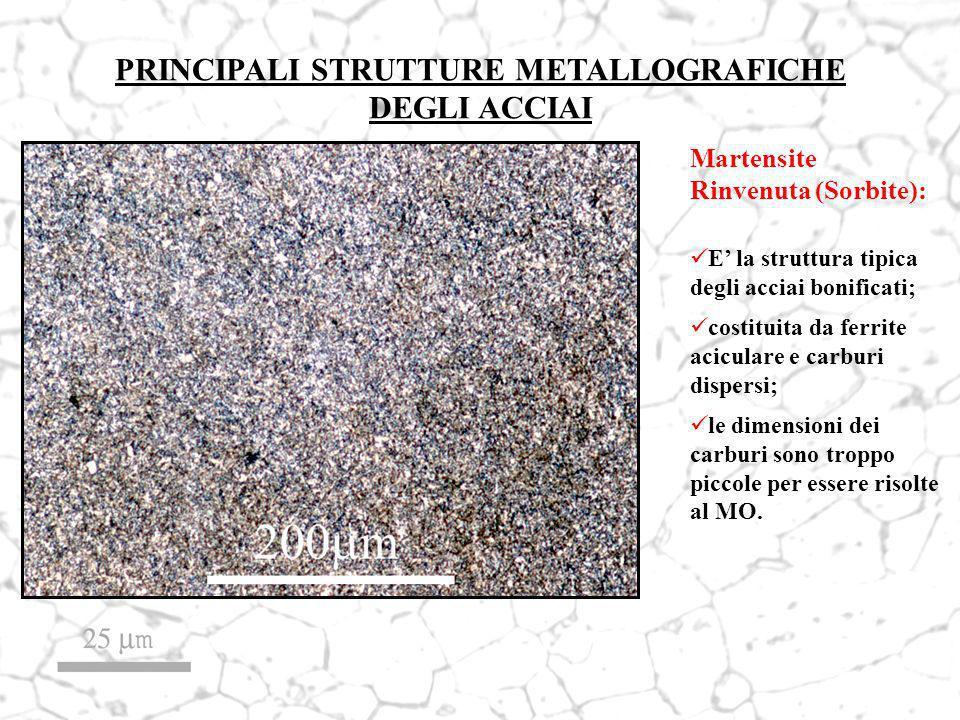 Martensite Rinvenuta (Sorbite): E la struttura tipica degli acciai bonificati; costituita da ferrite aciculare e carburi dispersi; le dimensioni dei c