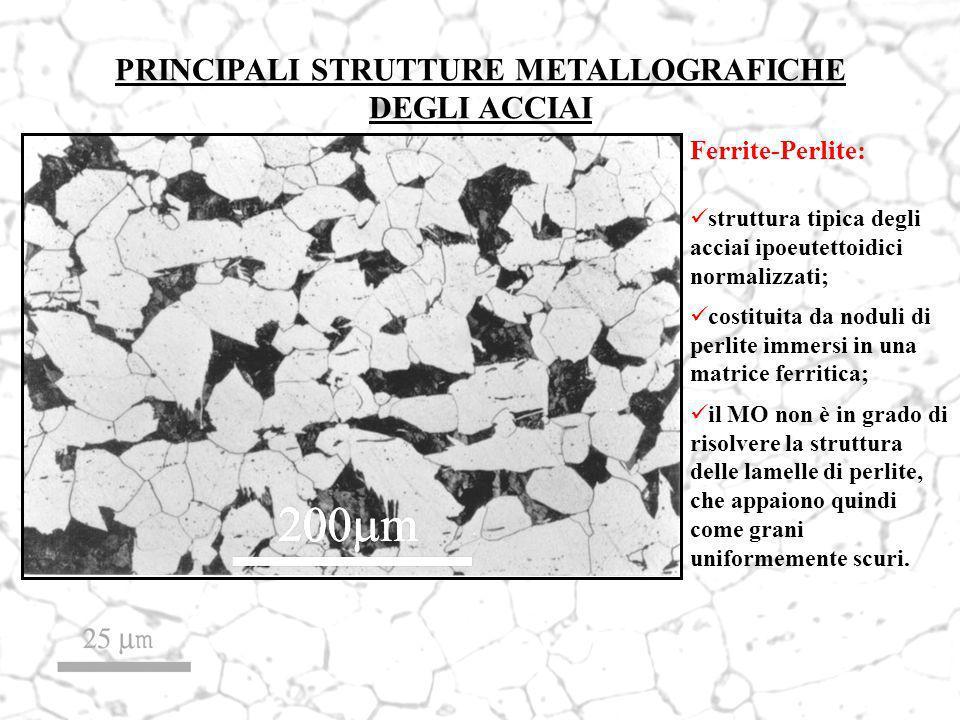 Ferrite-Perlite: struttura tipica degli acciai ipoeutettoidici normalizzati; costituita da noduli di perlite immersi in una matrice ferritica; il MO n