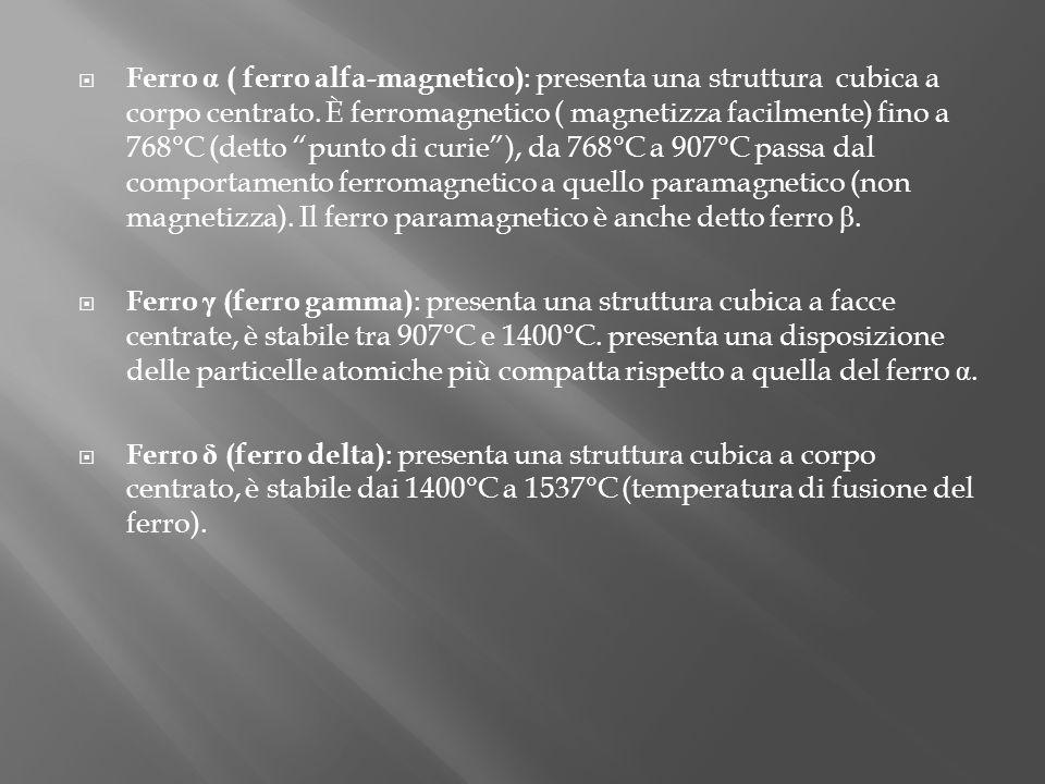 Ferro α ( ferro alfa-magnetico) : presenta una struttura cubica a corpo centrato. È ferromagnetico ( magnetizza facilmente) fino a 768°C (detto punto