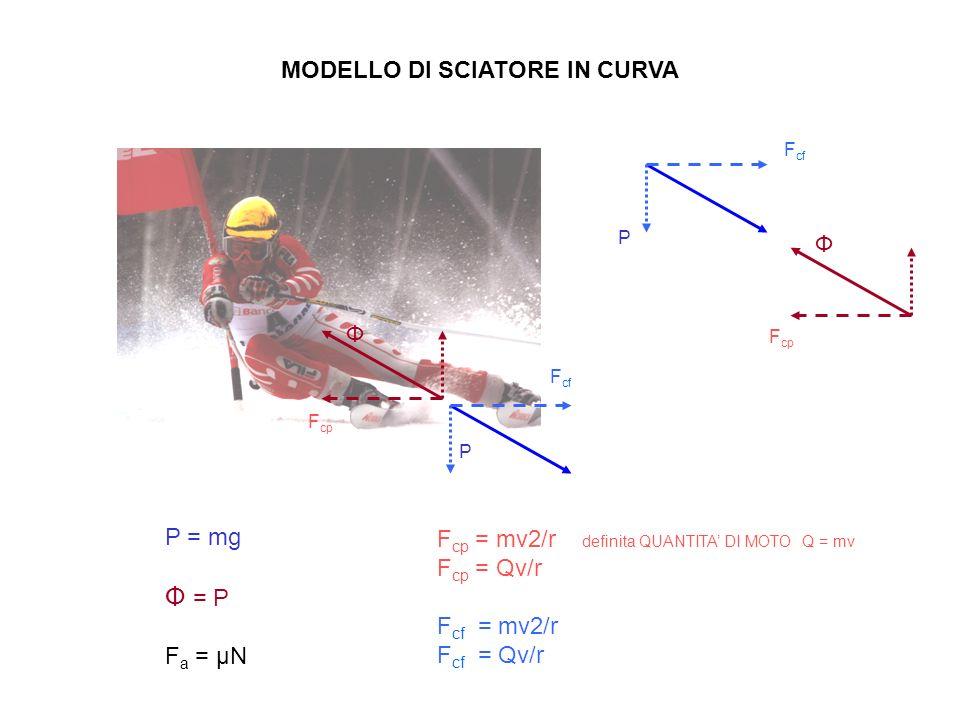 MODELLO DI SCIATORE IN CURVA P = mg Ф = P F a = μN F cp = mv2/r definita QUANTITA DI MOTO Q = mv F cp = Qv/r F cf = mv2/r F cf = Qv/r F cf F cp P Ф F cf F cp P Ф
