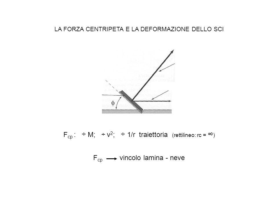 F cp : ÷ M; ÷ v 2 ; ÷ 1/r traiettoria (rettilineo: rc = ) LA FORZA CENTRIPETA E LA DEFORMAZIONE DELLO SCI F cp vincolo lamina - neve
