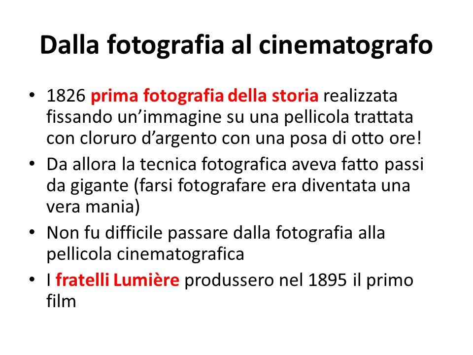 Dalla fotografia al cinematografo 1826 prima fotografia della storia realizzata fissando unimmagine su una pellicola trattata con cloruro dargento con