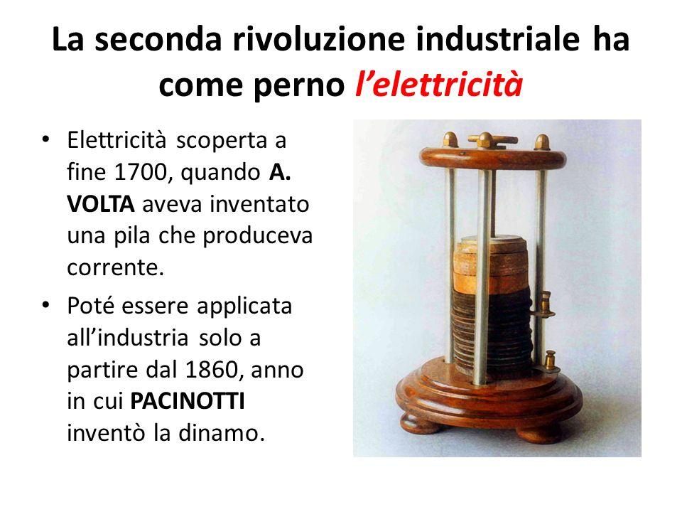 La seconda rivoluzione industriale ha come perno lelettricità Elettricità scoperta a fine 1700, quando A. VOLTA aveva inventato una pila che produceva
