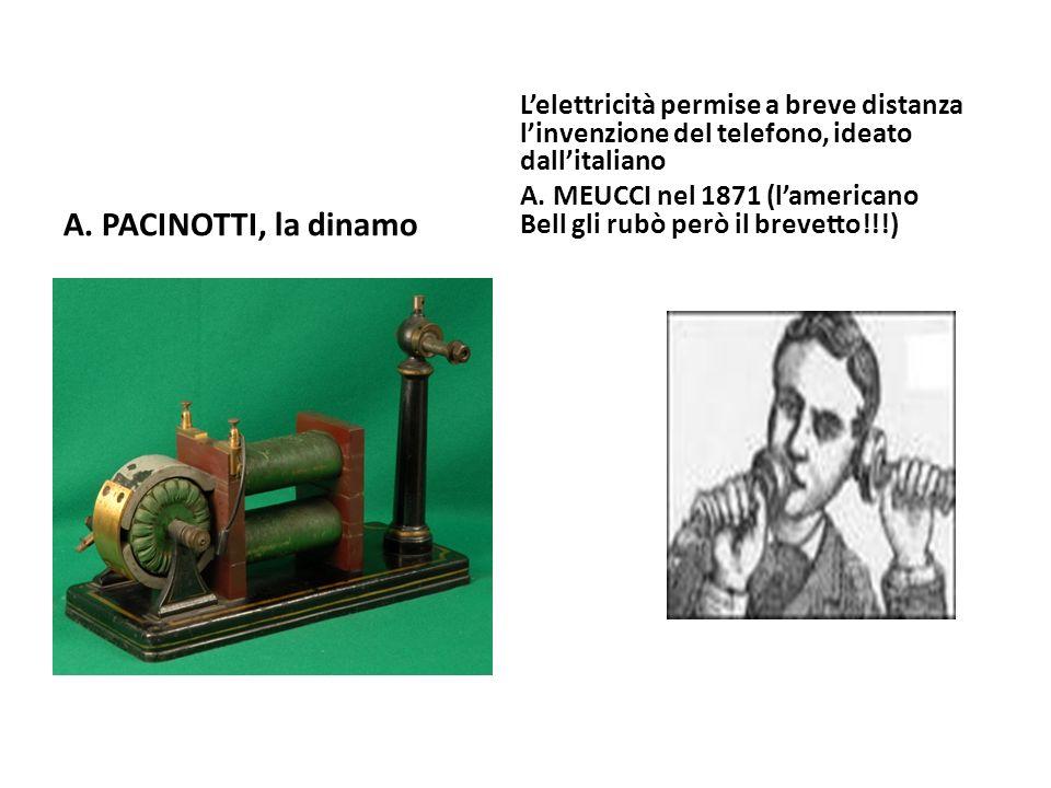 A. PACINOTTI, la dinamo Lelettricità permise a breve distanza linvenzione del telefono, ideato dallitaliano A. MEUCCI nel 1871 (lamericano Bell gli ru