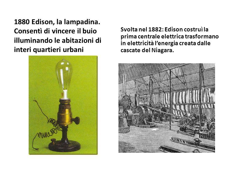1880 Edison, la lampadina. Consentì di vincere il buio illuminando le abitazioni di interi quartieri urbani Svolta nel 1882: Edison costruì la prima c