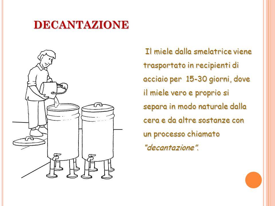 DECANTAZIONE Il miele dalla smelatrice viene trasportato in recipienti di acciaio per 15-30 giorni, dove il miele vero e proprio si separa in modo nat