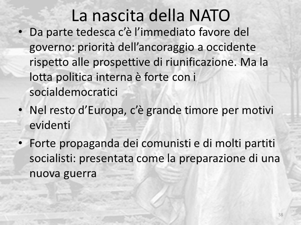 La nascita della NATO 38 Da parte tedesca cè limmediato favore del governo: priorità dellancoraggio a occidente rispetto alle prospettive di riunifica