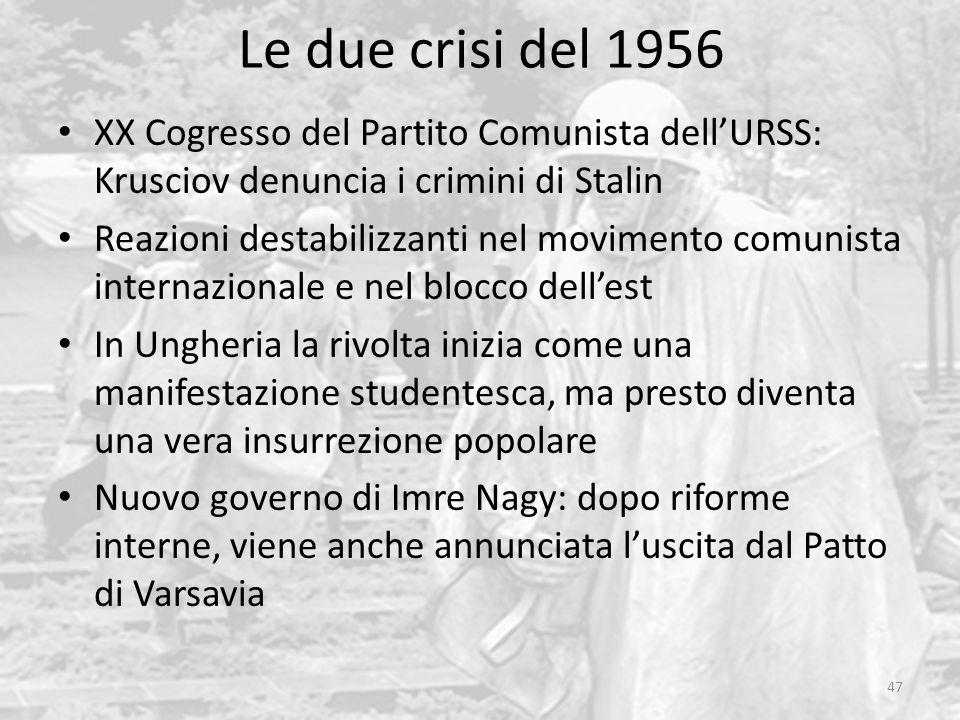 Le due crisi del 1956 47 XX Cogresso del Partito Comunista dellURSS: Krusciov denuncia i crimini di Stalin Reazioni destabilizzanti nel movimento comu