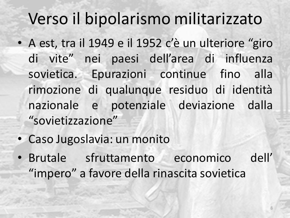 Verso il bipolarismo militarizzato A est, tra il 1949 e il 1952 cè un ulteriore giro di vite nei paesi dellarea di influenza sovietica. Epurazioni con