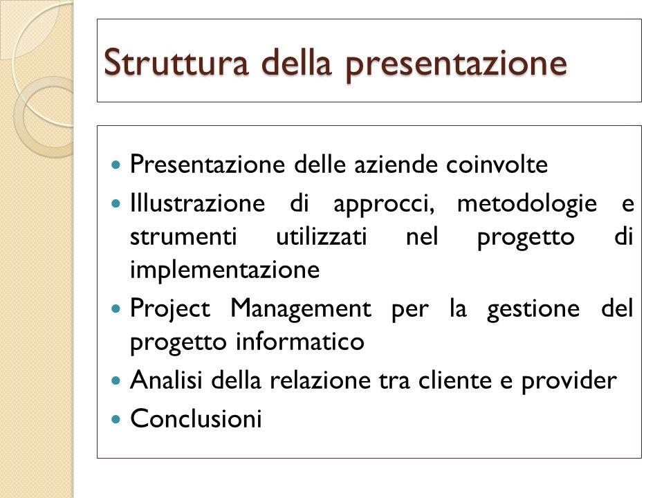 Struttura della presentazione Presentazione delle aziende coinvolte Illustrazione di approcci, metodologie e strumenti utilizzati nel progetto di impl