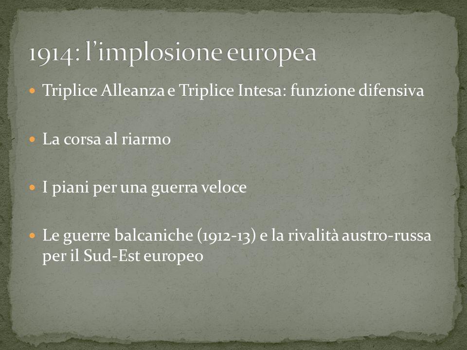Triplice Alleanza e Triplice Intesa: funzione difensiva La corsa al riarmo I piani per una guerra veloce Le guerre balcaniche (1912-13) e la rivalità