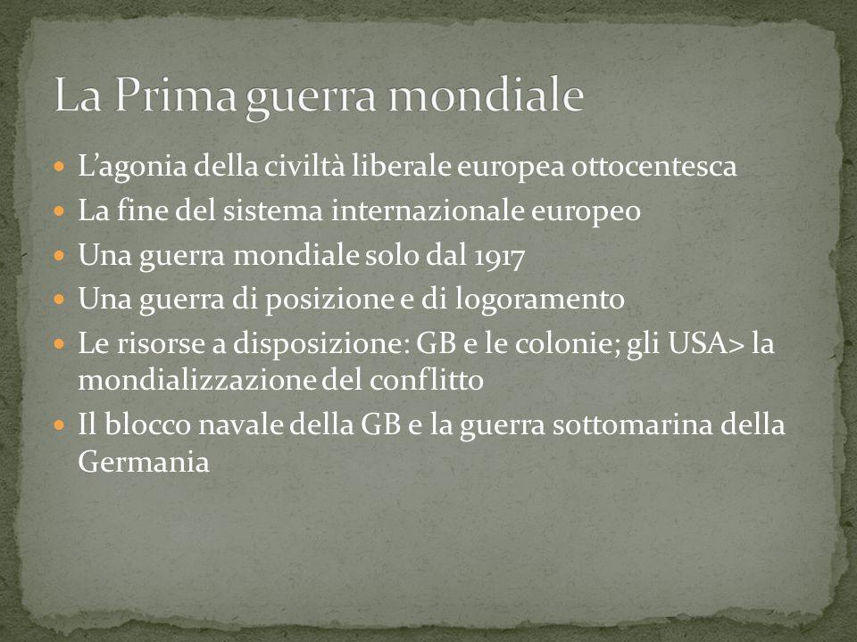 Lagonia della civiltà liberale europea ottocentesca La fine del sistema internazionale europeo Una guerra mondiale solo dal 1917 Una guerra di posizio