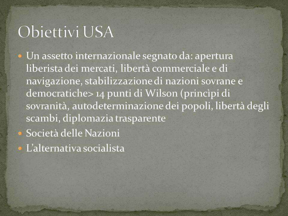 Un assetto internazionale segnato da: apertura liberista dei mercati, libertà commerciale e di navigazione, stabilizzazione di nazioni sovrane e democ