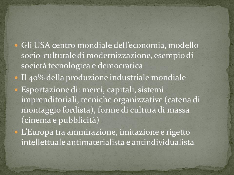 Gli USA centro mondiale delleconomia, modello socio-culturale di modernizzazione, esempio di società tecnologica e democratica Il 40% della produzione