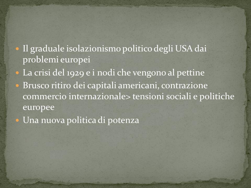 Il graduale isolazionismo politico degli USA dai problemi europei La crisi del 1929 e i nodi che vengono al pettine Brusco ritiro dei capitali america