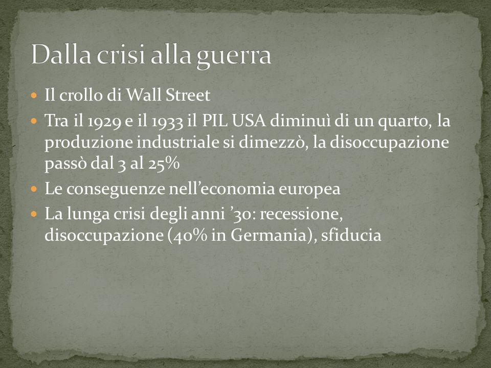 Il crollo di Wall Street Tra il 1929 e il 1933 il PIL USA diminuì di un quarto, la produzione industriale si dimezzò, la disoccupazione passò dal 3 al