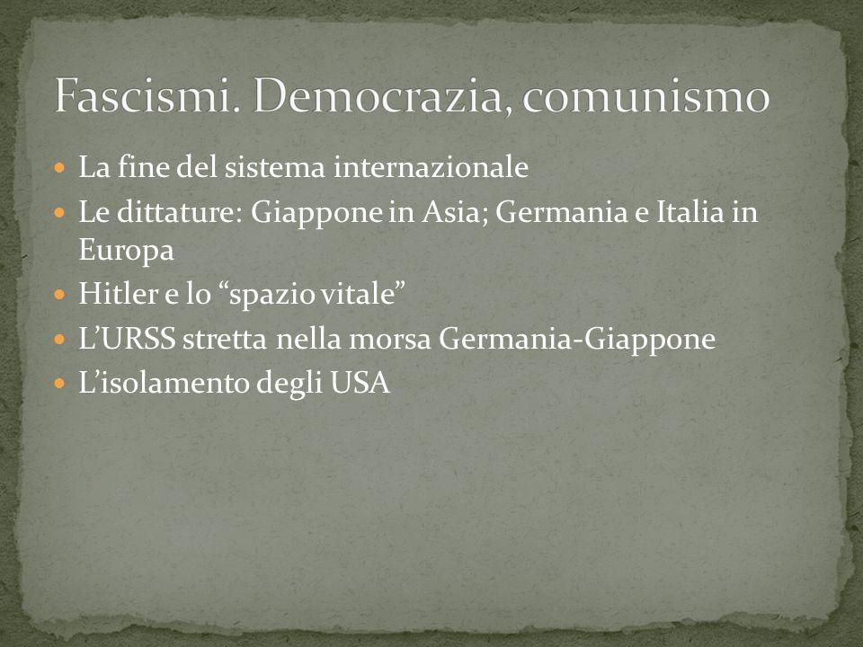 La fine del sistema internazionale Le dittature: Giappone in Asia; Germania e Italia in Europa Hitler e lo spazio vitale LURSS stretta nella morsa Ger