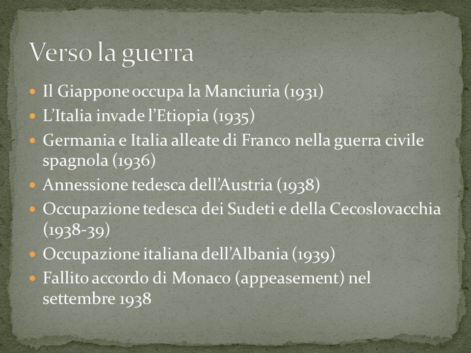 Il Giappone occupa la Manciuria (1931) LItalia invade lEtiopia (1935) Germania e Italia alleate di Franco nella guerra civile spagnola (1936) Annessio