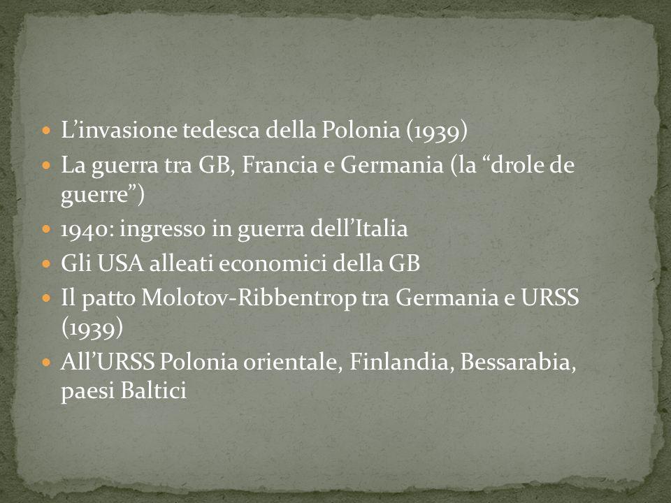 Linvasione tedesca della Polonia (1939) La guerra tra GB, Francia e Germania (la drole de guerre) 1940: ingresso in guerra dellItalia Gli USA alleati