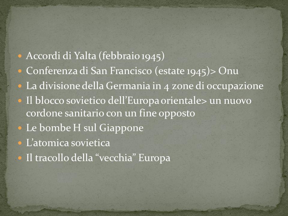 Accordi di Yalta (febbraio 1945) Conferenza di San Francisco (estate 1945)> Onu La divisione della Germania in 4 zone di occupazione Il blocco sovieti