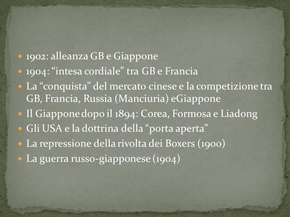 1902: alleanza GB e Giappone 1904: intesa cordiale tra GB e Francia La conquista del mercato cinese e la competizione tra GB, Francia, Russia (Manciur