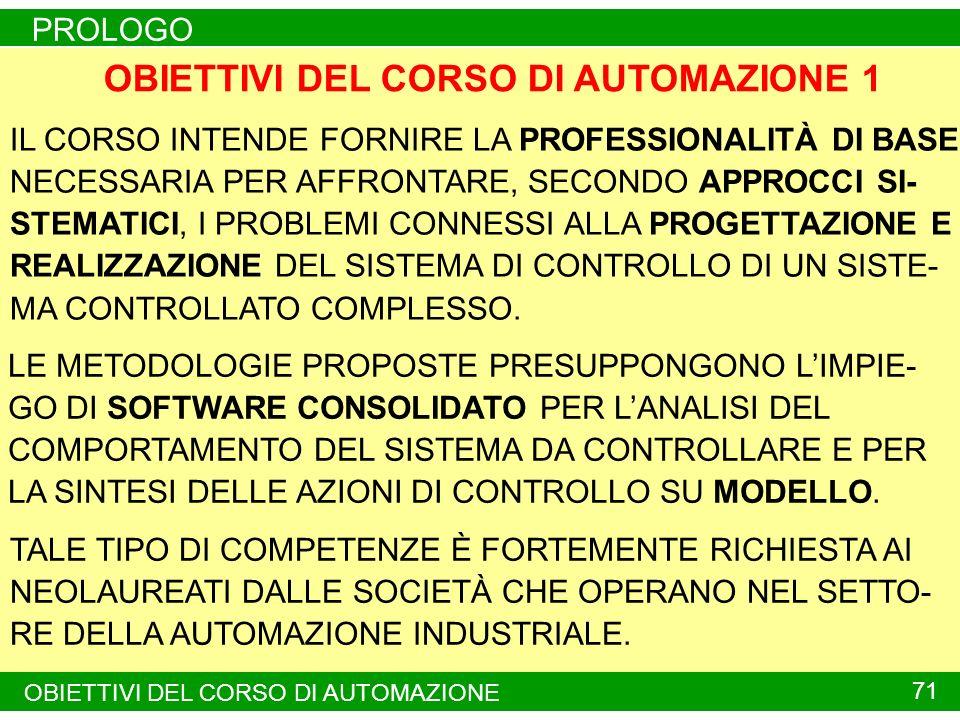 PROLOGO 70 OBIETTIVI DEL CORSO DI AUTOMAZIONE 1
