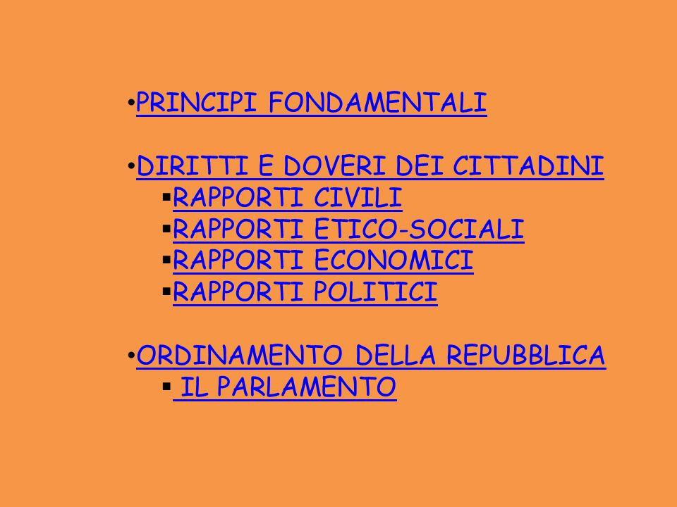 PRINCIPI FONDAMENTALI DIRITTI E DOVERI DEI CITTADINI RAPPORTI CIVILI RAPPORTI ETICO-SOCIALI RAPPORTI ECONOMICI RAPPORTI POLITICI ORDINAMENTO DELLA REP