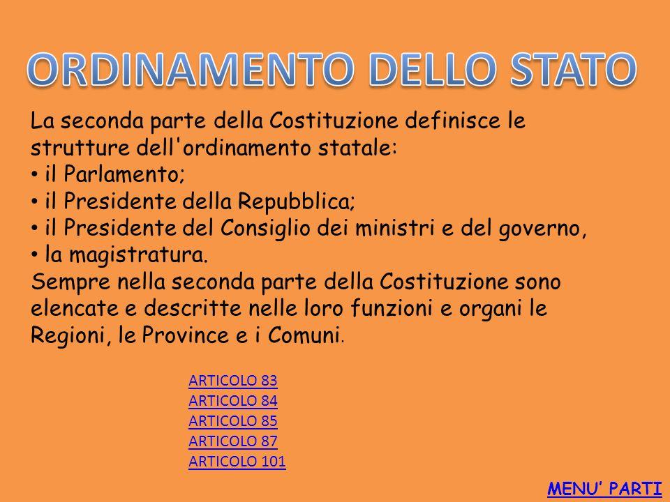 MENU PARTI La seconda parte della Costituzione definisce le strutture dell'ordinamento statale: il Parlamento; il Presidente della Repubblica; il Pres