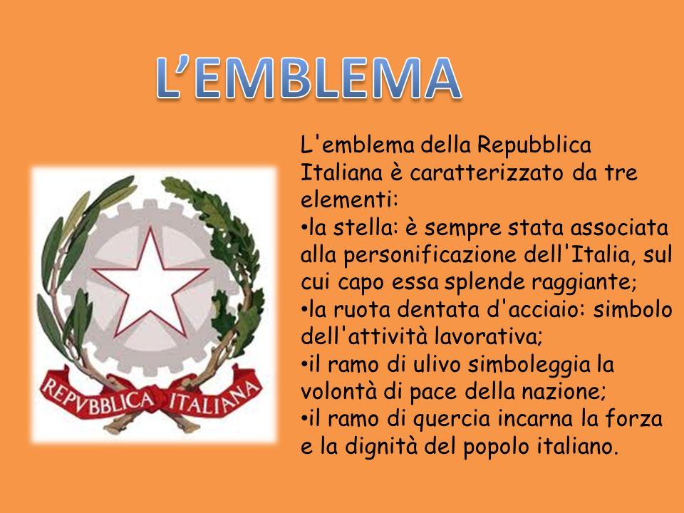 L'emblema della Repubblica Italiana è caratterizzato da tre elementi: la stella: è sempre stata associata alla personificazione dell'Italia, sul cui c