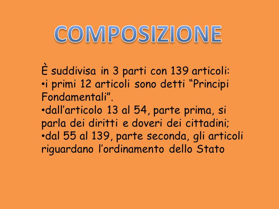 È suddivisa in 3 parti con 139 articoli: i primi 12 articoli sono detti Principi Fondamentali. dallarticolo 13 al 54, parte prima, si parla dei diritt