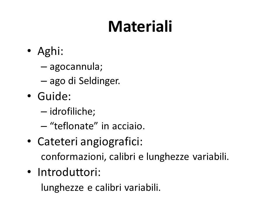 Materiali Aghi: – agocannula; – ago di Seldinger. Guide: – idrofiliche; – teflonate in acciaio. Cateteri angiografici: conformazioni, calibri e lunghe