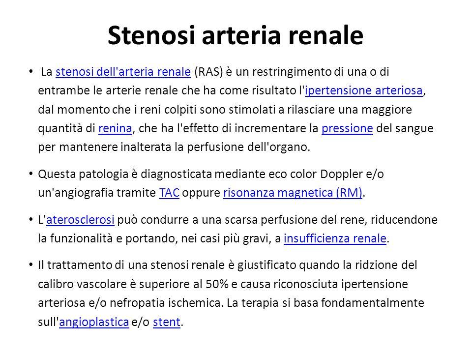 La stenosi dell'arteria renale (RAS) è un restringimento di una o di entrambe le arterie renale che ha come risultato l'ipertensione arteriosa, dal mo